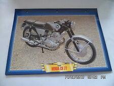 CARTE FICHE MOTO 1963 HONDA CB 77