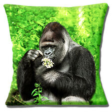 "NEW NOVELTY SILVERBACK GORILLA FOREST FLOWERS PHOTO 16"" Pillow Cushion Cover"