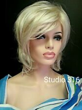 Simple Shag Style Wig w Side Swept Bangs Platinum Blonde White Blonde Mix Tips