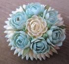 """Vintage Pin/Brooch Rose Resin Flower Pin Unmarked 1.75"""" Round Blue/off white W@W"""