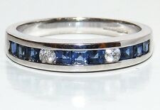 9CT WHITE GOLD  CHANNEL SET PRINCESS SAPPHIRE .07CT DIAMOND ETERNITY RING  N