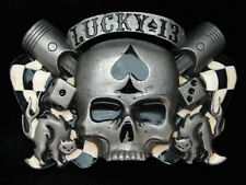 PL23164 REALLY COOL **LUCKY 13 APPAREL** SKULL & DICE LIGHTER STASH BOX BUCKLE
