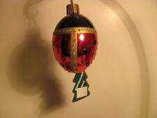 GLASS SPRING EASTER LADYBUG EGG  CHRISTMAS ORNAMENT  ( MADE IN GERMANY)