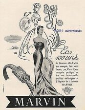 PUBLICITE MARVIN MONTRE POUR FEMME 100 ANS ART DECO DE 1951 FRENCH AD WATCH PUB