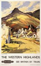 Vintage Rail travel railway poster  A4 RE PRINT The Western Highlands