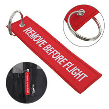 Remove Before Flight Embroidered Canvas Zipper Pull Woven Luggage Tag Key chain