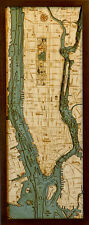 "MANHATTAN, NYC 13.5"" x 31"" New, Laser-Cut 3-Dimen Wood Chart/Lake Art Map"