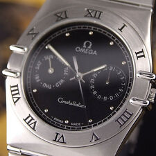 Authentic Omega Constellation Day Date Black Dial Steel Quartz Mens Watch