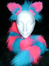 The Cheshire Cat Ears And Tail Fancy Dress Set Bright Pink & Turquoise One Size