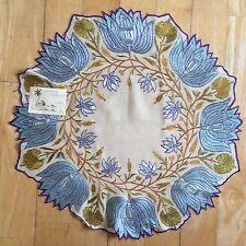 Bordado panel Seda Indio 1800 Antiguo Centro De Mesa vivos Bella Boutique