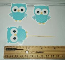 """2"""" Cute Baby Shower Owl BLUE cupcakes toppers CUT-BOY 20pcs"""