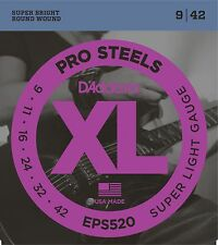 D'Addario Electric Guitar Strings  Pro Steels  1 Set   EPS520  Super Light