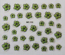 Accessoire ongles : nail art ,Stickers autocollants, fleurs vertes