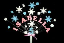 Any name and age frozen, snowflake birthday cake topper