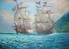 "NEW STUNNING ORIGINAL JOEL KIRK  ""Piracy"" MARITIME SEASCAPE SHIP BOAT  PAINTING"