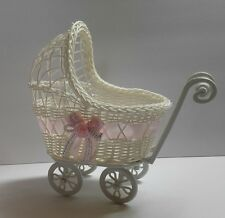 Baby Shower Wicker Carriage Centerpiece, Favors Girl Gifts Decorations