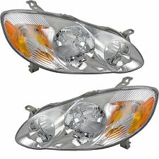 New 03-08 Pair Headlight Toyota Corolla Clear Amber Signal Lamp Left Right Set