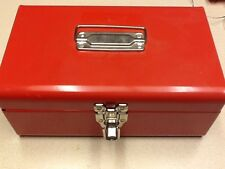 Red Metal Storage Box With Latching Lid