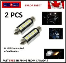 2 X CANBUS White 39 MM 4 SMD LED 5050 Car Festoon Interior Light Bulbs Dome