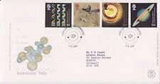 GB Royal mail FDC PRIMO GIORNO DI COPERTURA 1999 scienziati racconto del timbro Set Cambridge PMK