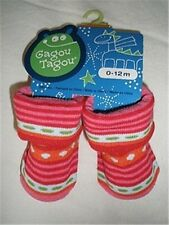 Size 0-12 Months - Gagou Tagou Baby Girls Socks - Pink Stripes