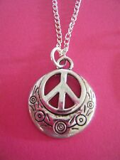 "FREE GIFT ** ANTIQUED SILVER ""Hippie Peace Sign""  PENDANT CHAIN NECKLACE"
