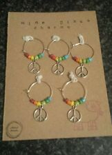 wine glass charms. set of 5. peace sign.