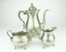 Pewter by Poole Teapot Coffee Pot Sugar Bowl Creamer Metal Set Vintage 2225 2226