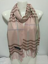 CASHMERE SCARF NEW PLAID DESIGN COLOR PINK SUPER SOFT