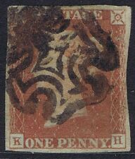 1841 1d Red Black Pl 5 KH 4 margins Good Used Cat. £190.00