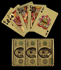 NEW GOLD Tone PLASTIC $100 US Bill Style PLAYING CARDS Boxed Deck FREE Shipping*