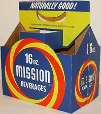 Vintage soda pop bottle carton MISSION BEVERAGES unused new old stock n-mint+