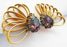 Dominique AURIENTIS Earrings~Amethyst Glass+Textured Golden Loops~Big+ Important