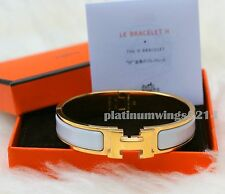 NIB Authentic Hermes H Clic Clac White Enamel Gold Hardware GHW Bangle Bracelet