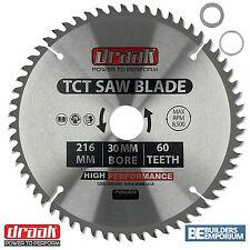 Draak 216mm x 30mm Foro 60 Denti Circolare TCT legno troncatrice lama MAKITA BOSCH