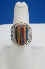 Vintage Estate Sterling Silver & Rainbow Calsilica Ring - Size 6 - FREE SHIPPING