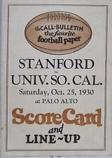 1930 USC Trojans vs Stanford Cardinal Football Scorecard and Line-Up Card 5x7 VG