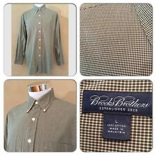 VGC BROOKS BROTHERS MENS LARGE HUNTER GREEN BEIGE GINGHAM CHECKED DRESS SHIRT