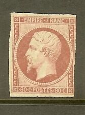 "FRANCE STAMP TIMBRE N° 17b "" NAPOLEON 80c ROSE PALE 1859 "" NEUF x A VOIR"
