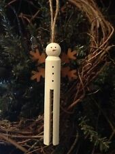 Primitive Christmas Snowman Angel Wood Paint Clothespin Ornament Rusty Snowflake
