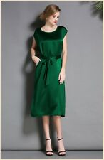 Womens Girls 19 Momme 100% Pure Silk Dress One Piece Skirt Party Club Wear