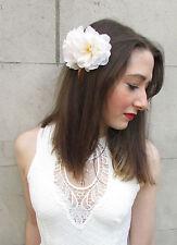 Doppel Elfenbein Blume Haarkamm Heckenrose Blossom Creme Vtg Brautjungfer Klemme