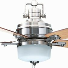 Hampton Bay 52 Inch Brushed Nickel Ceiling Fan With Light and Reversible Blades