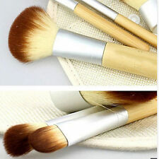 4pc Bamboo Handle Cosmetic Brush Kabuki Blush Eyebrow Concealer Eyeshadow Makeup
