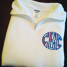 FREE SHIPPING Lilly Pulitzer Embroidered Monogram QuarterZip Pullover/Sweatshirt