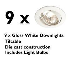 9 x Gloss White Die Cast Mains GU10 Ceiling Spot Lights Tilt Downlights + Bulbs