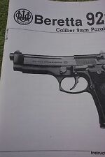 BERETTA 92FS 9mm Pistol Instruction Owners Manual, 22 pages of info