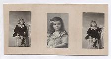 Lot 3 Photos Enfant Photo Petite Fille Coiffure Poupée Jouet Pose Médaille 1900