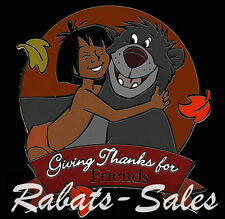 Mowgli & Baloo Giving Thanks for Friends Disney Auctions Pin LE100 New On Card