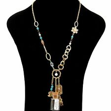 Serenity Prayer Message in a Bottle Heart Cross Pearl Crystal Charm Necklace
